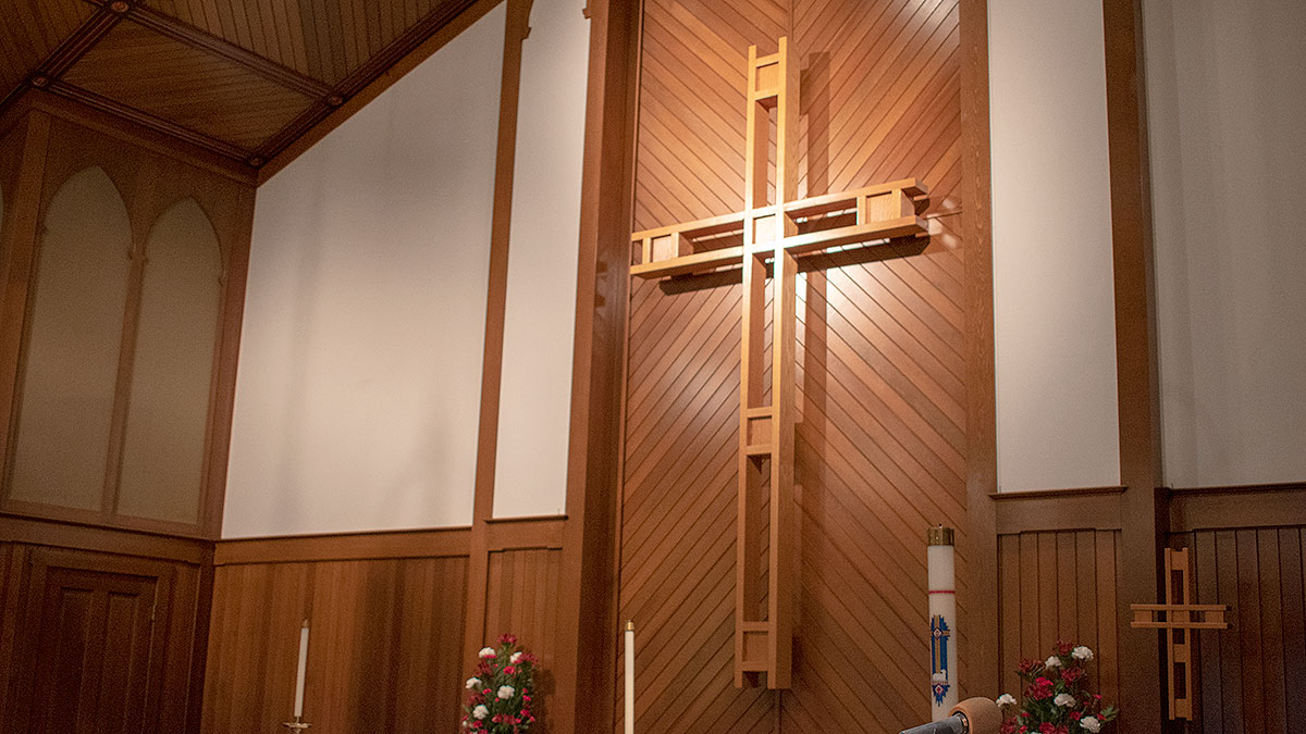 The wooden cross in the Sanctuary at St. Jacob's