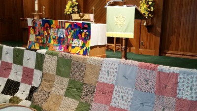 Quilts on display made by the Quilting Club